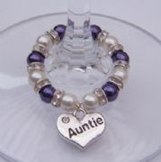 Auntie Wine Glass Charm - Full Sparkle Style